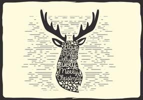 Libre de Navidad Vector Reindeer Tipografía