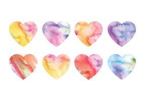Coeurs d'aquarelle vectorielle