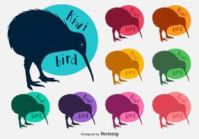 Siluetas de vectores de aves Kiwi