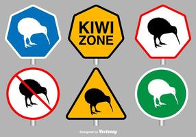 Signes vectoriels d'oiseaux Kiwi