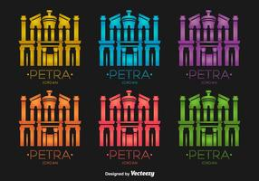 Petra Jordania Edificio Iconos De Vector