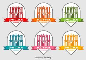 Petra Jordan Building Vector Labels