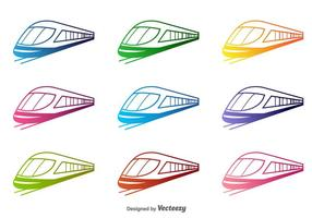 Colorful train Vector Silhouettes