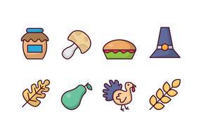 Ícones dos desenhos animados da acção de graças