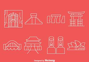 Pays Landmark Icons Ligne Vector Set