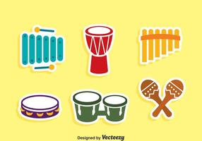 Traditional Music Instrument Icons Vector