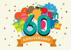 60th Anniversary Vector Illustration