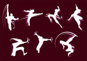 Kungfu Siluetas Free Vector
