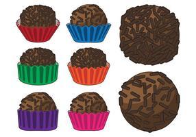 Vetores trufa de chocolate brigadeiro