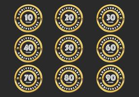Gold anniversary badges vector