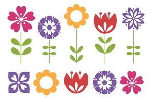 Cute Spring Flowers Collection vector