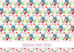 Free Vector Floral Pattern With Cute Bird