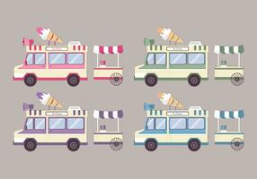 Vector Colorful Ice Cream Trucks