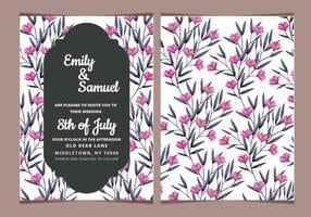 Convite Rosa Floral Vector Wedding