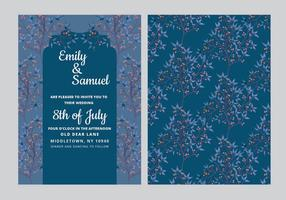 Vector Dark-Blue Wedding Invitation