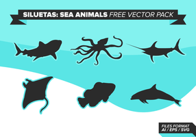 Siluetas Sea Animals Free Vector Pack