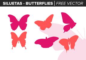 Siluetas de las mariposas de vectores libres