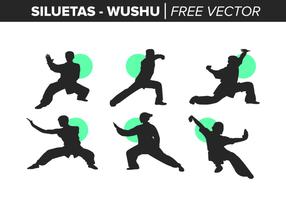 Siluetas de Wushu libres del vector