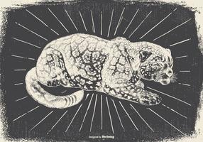 Weinlese-Leopard Illustration