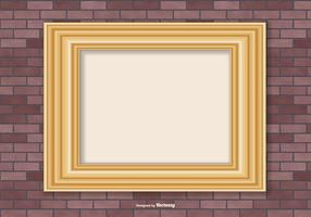 Gold Frame on Brick Wall Background vector
