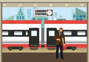 TGV station business man waiting train vector illustration