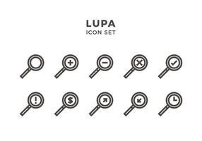 Lupa Icon Set Vector grátis