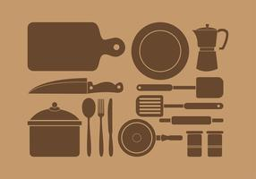 Siluetas Kitchen Set Vector gratuit