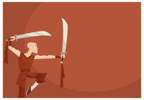 Shaolin Monk Performing Wushu With Two Sword Vector
