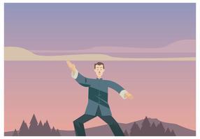 Wushu Maestro Practicar en el vector de la tarde