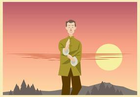 Wushu Master Practicing in the Afternoon Vector