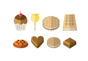 Sweet and dessert icons vector