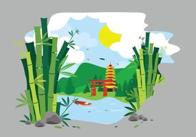 Green bamboo lanscape china illustration