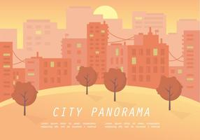 Warm-sunset-city-panorama-vector-illustration