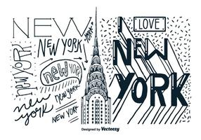 New York Byggnad Hand Drawn Vector