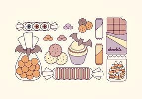 Vektor Halloween Süßigkeiten