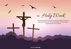 Holy Week Text Template vector