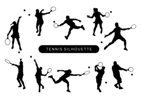 Jugadores de tenis silueta vector