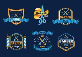 Scissors label barber shop logo vector