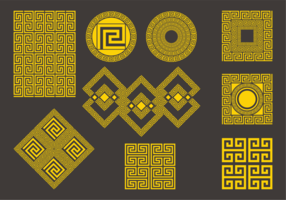 Decorative Gold Greek Symbols Set vector