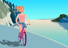 Uma chica de montar una bicicleta