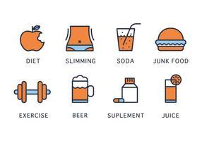 Vector-iconen voor gezondheid en afslanken