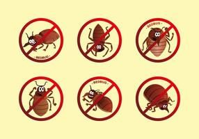 Anti bed bug label cartoon vector