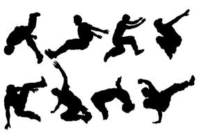 Break Dancing Siluetas Icons Vector