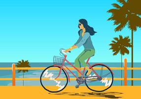 Muchacha en el vector de Bicicleta