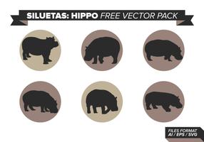 Pacote de vetores grátis siluetas hipopótamo