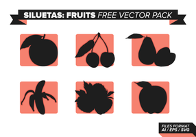 Pack de vecteur gratuit de fruits siluetas