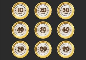 10th to 90th anniversary badges vector