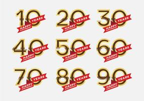 Vetores de símbolos de aniversário