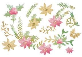 Vecteur glitter objets floraux d'hiver