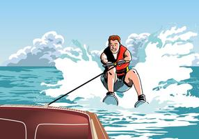 Man som rider på vattenskidor